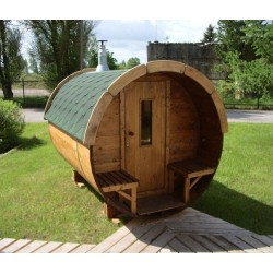 Sauna baril lg3.5m D2.2m avec terrasse et porte standard