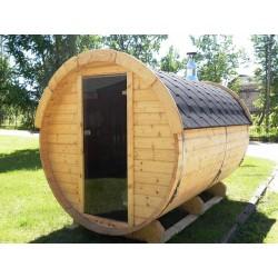 sauna baril thermo bois lg3m D 2.2m avec terrasse